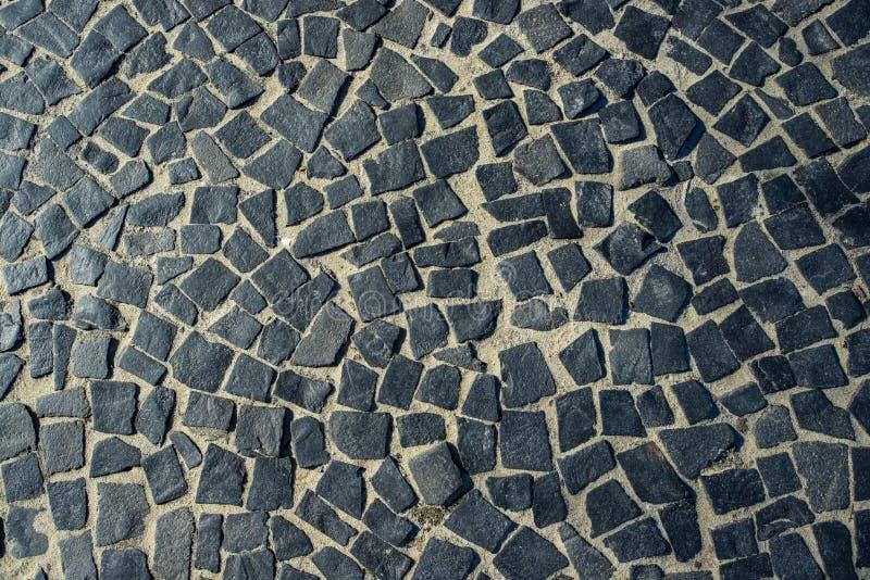 De Beroemde Copacabana-Bestrating van de Strandstoep in Rio de Janeiro, Brazilië Abstracte textuur van decoratie van de straten v royalty-vrije stock afbeelding