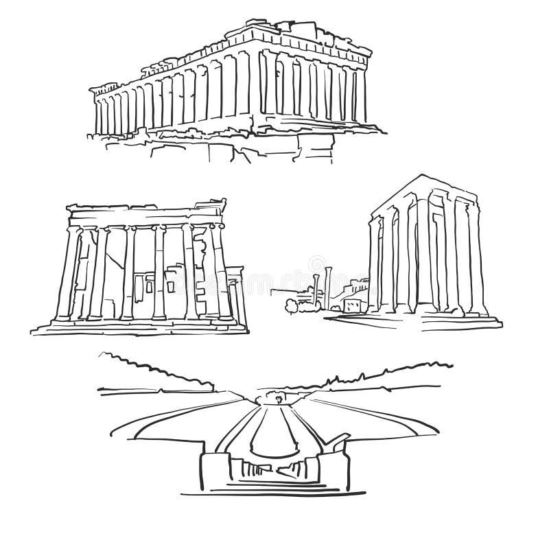 De Beroemde Gebouwen van Athene Griekenland stock illustratie