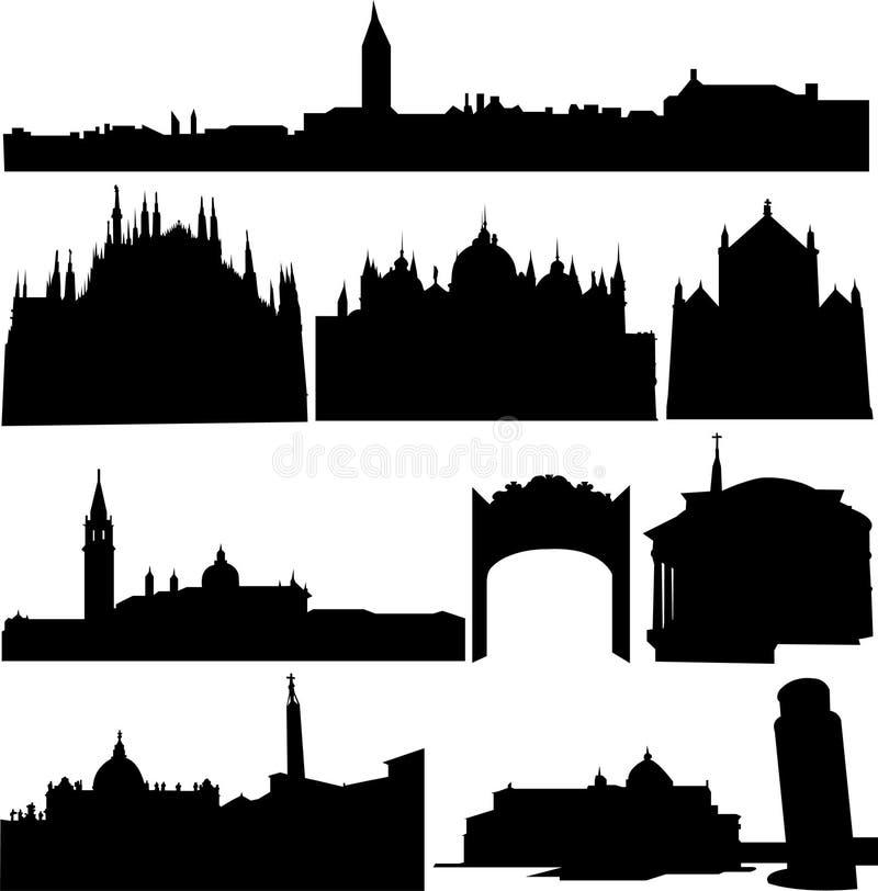 De beroemde gebouwen van Italië. vector illustratie