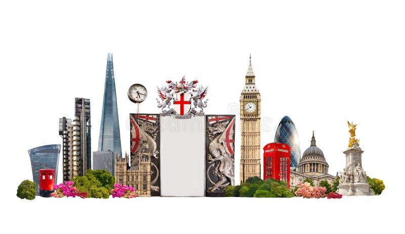 De beroemde gebouwen van Londen tegen van witte achtergrond royalty-vrije stock afbeeldingen
