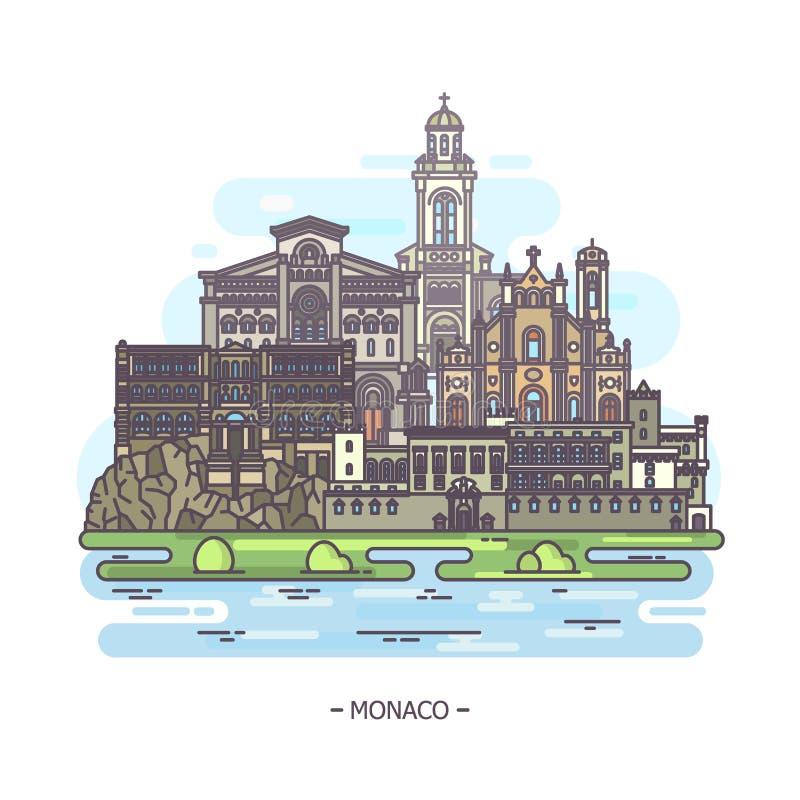 De beroemde gemeentelijke en godsdienstige oriëntatiepunten van Monaco royalty-vrije illustratie