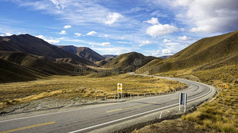 De beroemde gezichtspuntplaats in Lindis-Pas, Otago, Nieuw Zeeland royalty-vrije stock fotografie