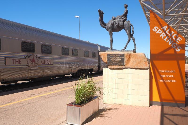 De beroemde Ghan-spoorweg bij de Alice Springs-terminal stock foto