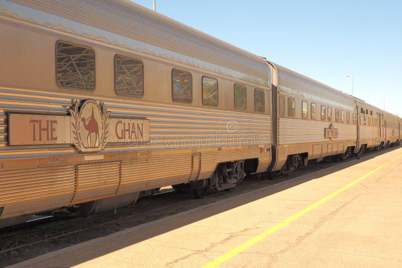 De beroemde Ghan-spoorweg bij de Alice Springs-terminal stock fotografie