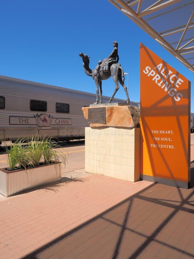 De beroemde Ghan-spoorweg bij de Alice Springs-terminal met een lokaal teken royalty-vrije stock afbeelding