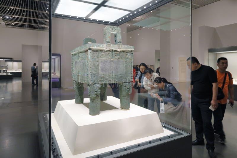 De beroemde houmuwuding vierkante driepoot in het Nationale Museum van China, rgb adobe stock foto's