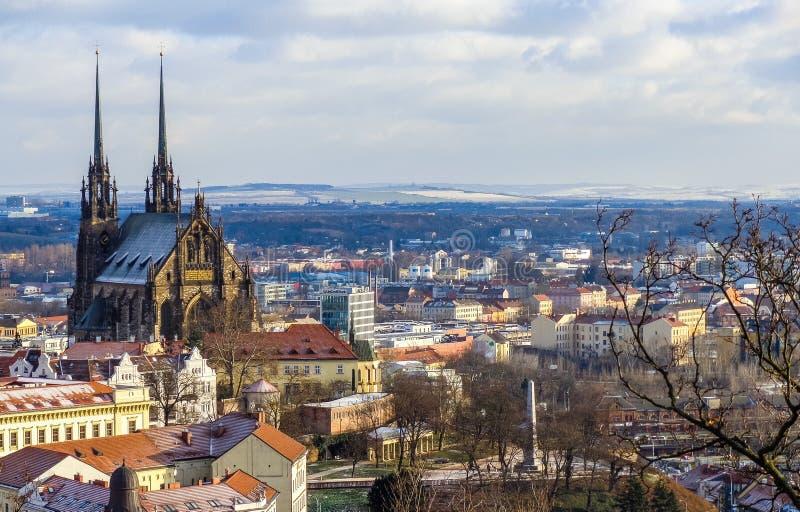 De beroemde kerk van st Peter in Brno stock fotografie