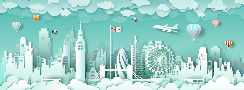 De beroemde oriëntatiepunten Europa van reislonden Engeland royalty-vrije illustratie