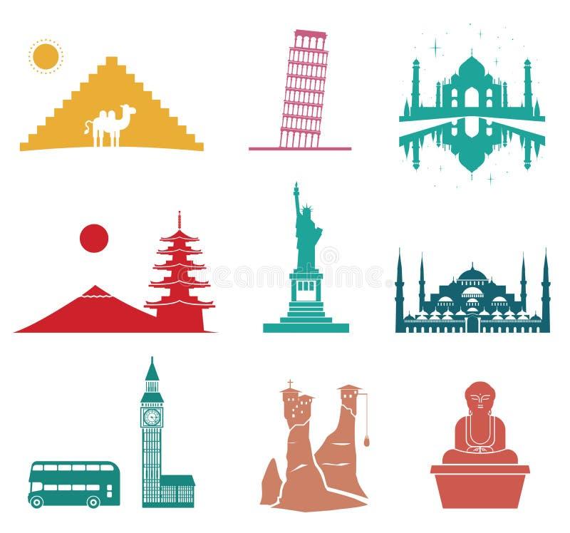 De beroemde pictogrammen van de monumentenreis royalty-vrije illustratie