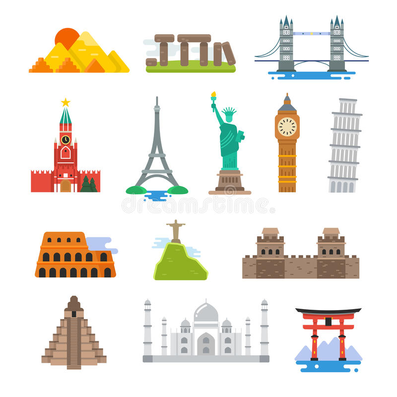 De beroemde pictogrammen van de reis vectororiëntatiepunten van de architectuurwereld royalty-vrije illustratie