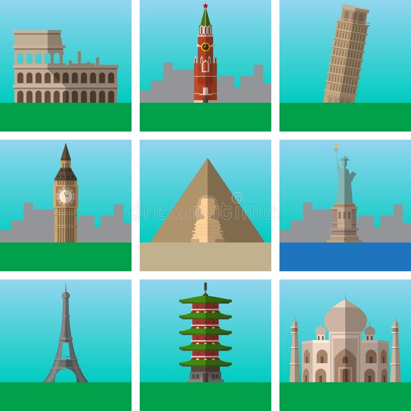 De beroemde plaatsen en de oriëntatiepunten vectorillustraties plaatsen, moderne vlakke pictogrammeninzameling, Tekens, embleemil royalty-vrije illustratie