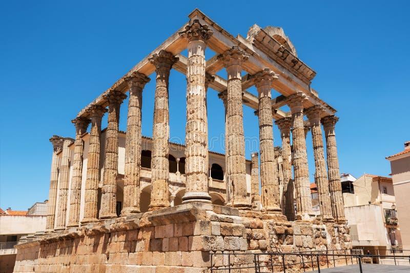 De beroemde Roman tempel van Diana in Merida, provincie van Badajoz, Extremadura, Spanje stock fotografie