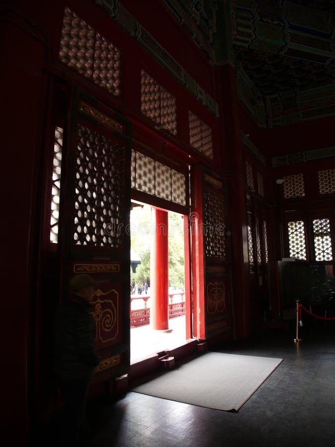 De Beroemde Tempel van Confucius in Peking met detail van de deur a royalty-vrije stock foto's