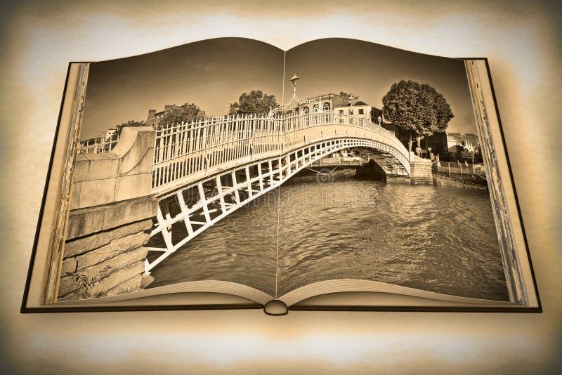 De beroemdste brug in Dublin geroepen Halve 3D stuiverbrug - Uitstekende en Retro Foto voert toegevoegd uit - geeft geopend fotob stock illustratie