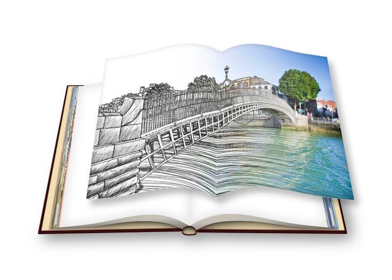 De beroemdste brug in Dublin geroepen ` Halve stuiverbrug ` - 3D beeld uit de vrije hand van het schetsconcept - geeft van een ge stock illustratie