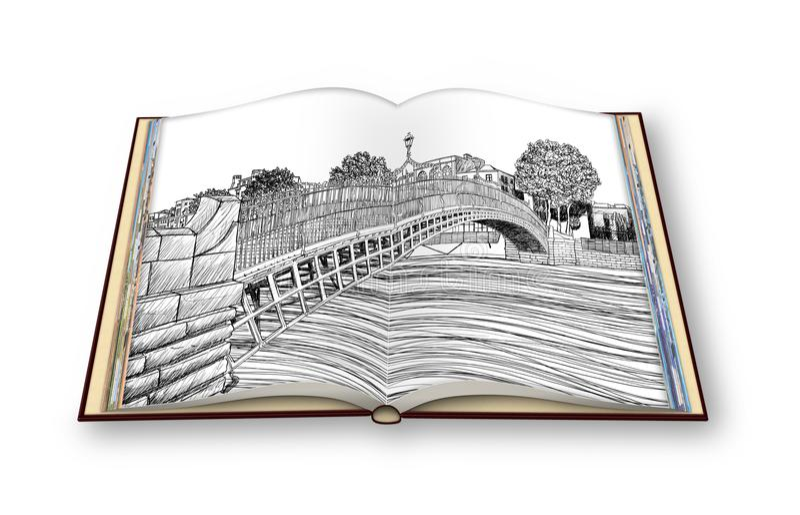 De beroemdste brug in Dublin geroepen ` Halve stuiverbrug ` - 3D beeld uit de vrije hand van het schetsconcept - geeft van een ge royalty-vrije illustratie