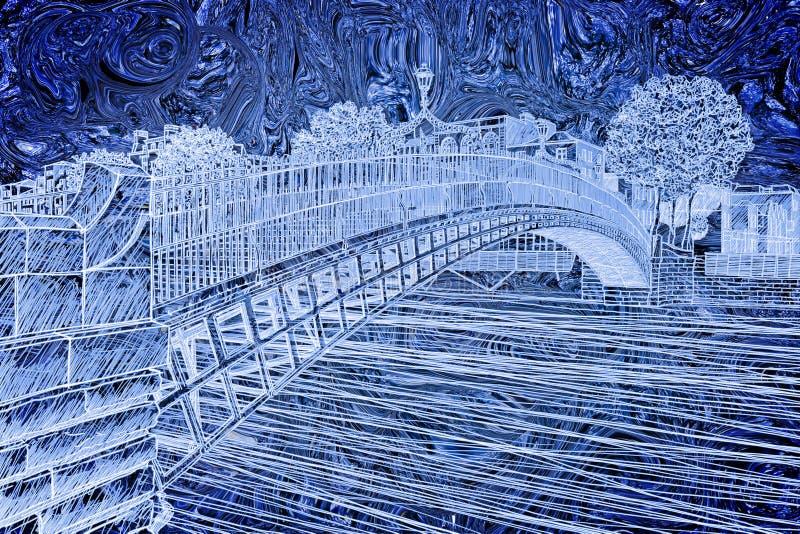De beroemdste brug in Dublin riep ` Halve die stuiverbrug ` toe te schrijven aan de tol voor de passage wordt geladen - vrije het royalty-vrije illustratie
