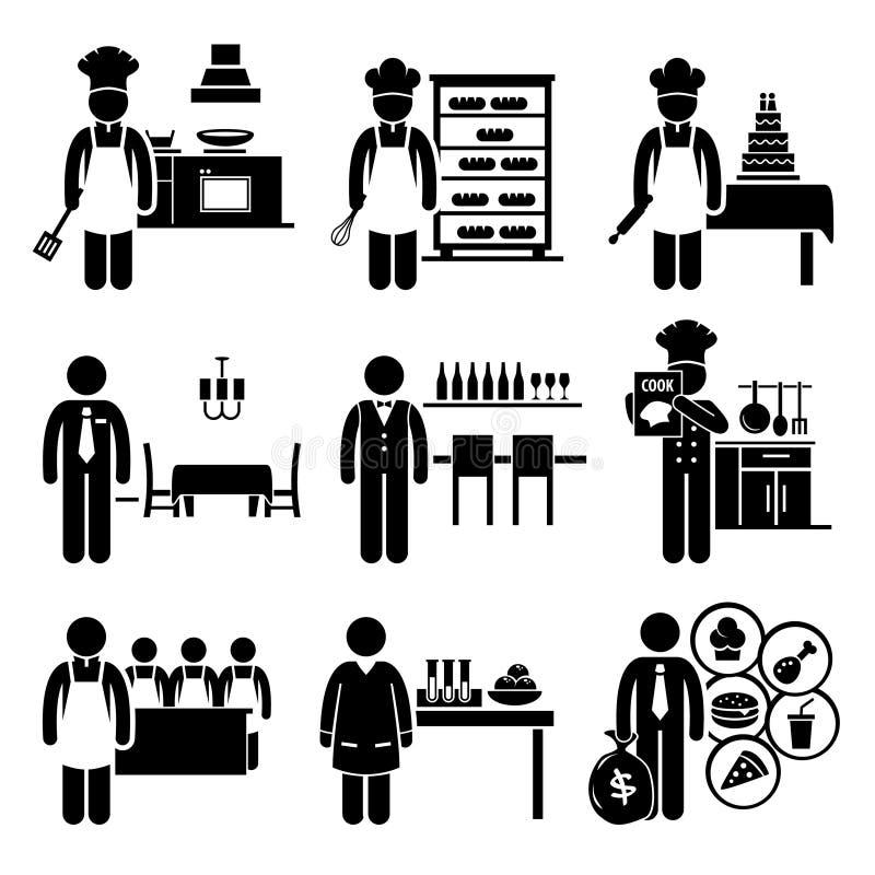 De Beroepencarrières van voedsel Culinaire Banen stock illustratie