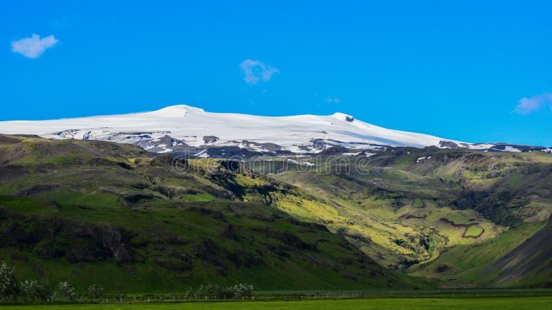 De beruchte Eyjafjallajokull-vulkaan, Zuid-IJsland royalty-vrije stock foto's
