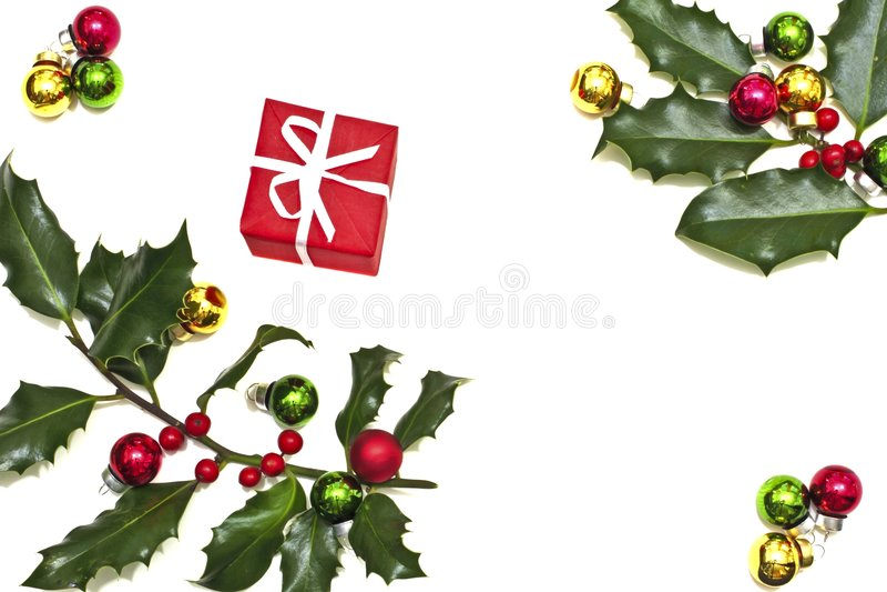 De bes van de hulst, Kerstmisballen en heden stock foto