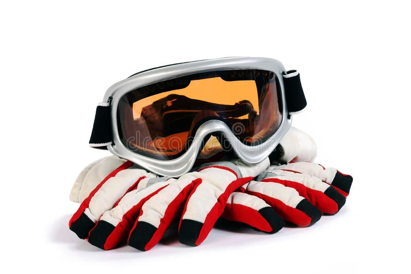 De beschermende brillen van de ski snowboard stock foto's