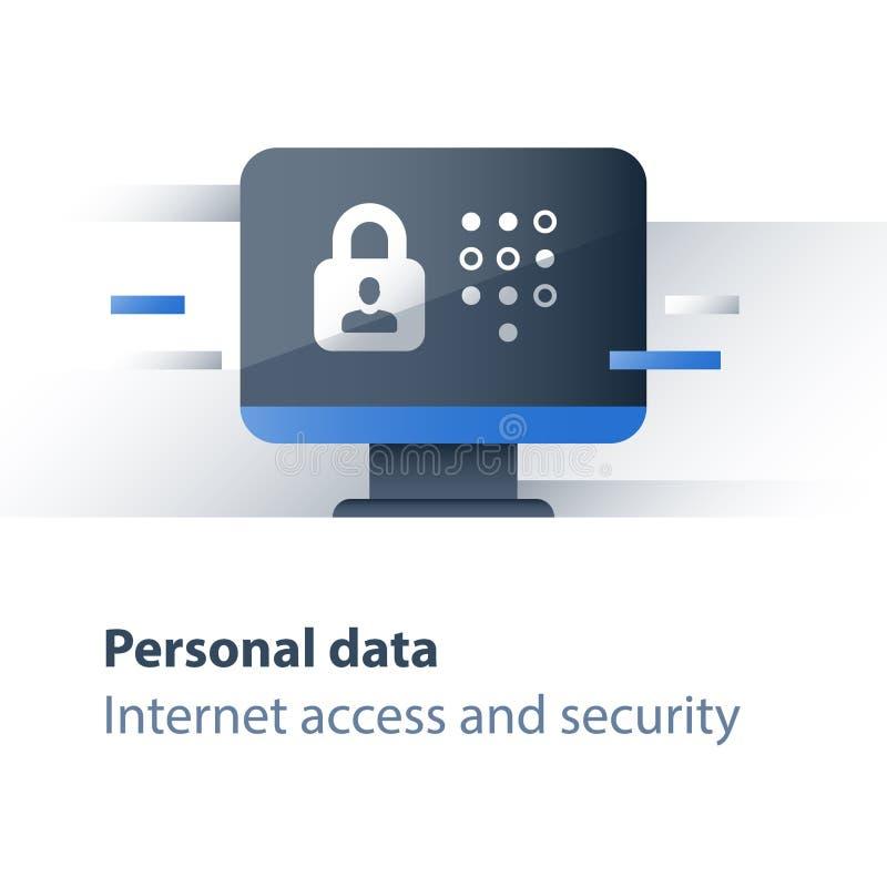 De bescherming van de Cybermisdaad, persoonlijk gegevensbeveiligingconcept, beperkte toegang, computerantivirus, monitor en slot, stock illustratie