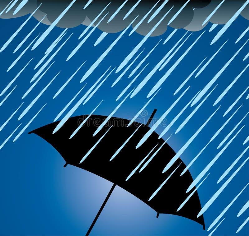 De bescherming van de paraplu tegen zware regen vector illustratie