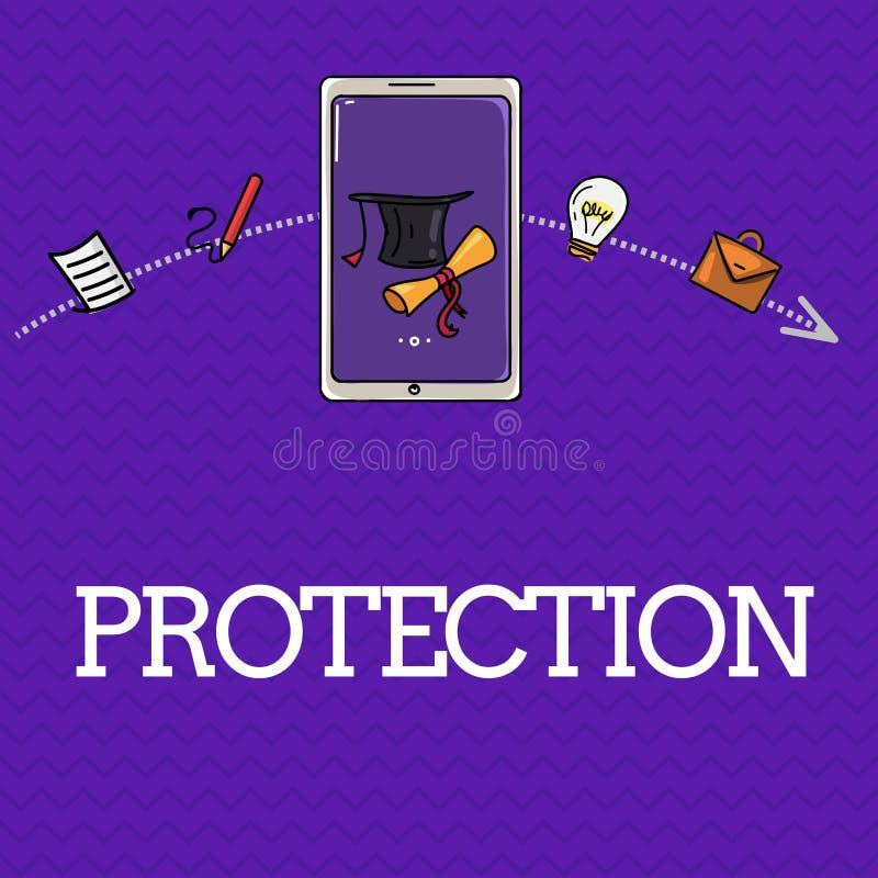 De Bescherming van de handschrifttekst Het concept die Staat van wordt beschermd gehouden tegen het gevaar van het kwaadverlies b vector illustratie