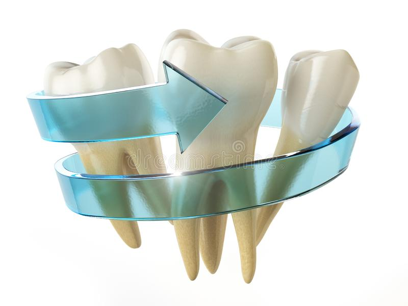 De beschermingsconcept van de tand Tanden met blauwe die pijl op whit wordt geïsoleerd stock illustratie