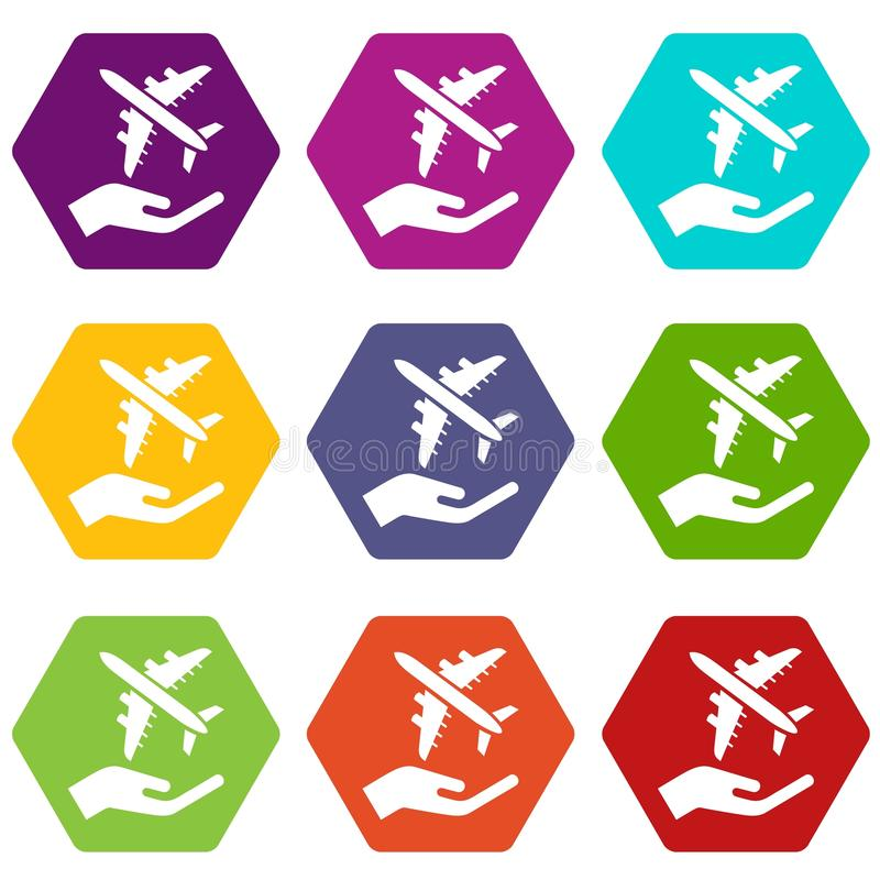 Download De De Beschermingspictogrammen Van De Luchtpassagier Plaatsen Vector 9 Vector Illustratie - Illustratie bestaande uit vliegtuigen, creatief: 114225147