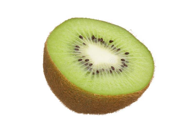 De besnoeiing van de kiwi in half geïsoleerde op witte achtergrond royalty-vrije stock fotografie