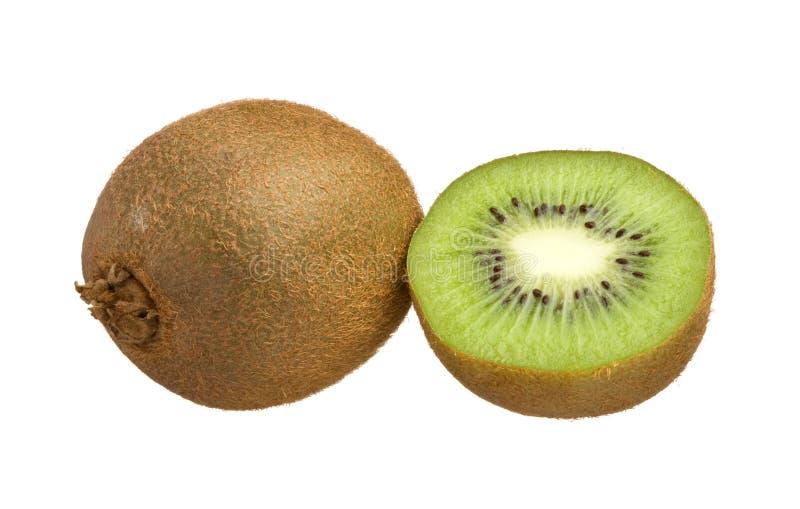 De besnoeiing van de kiwi in half geïsoleerde op witte achtergrond royalty-vrije stock foto's