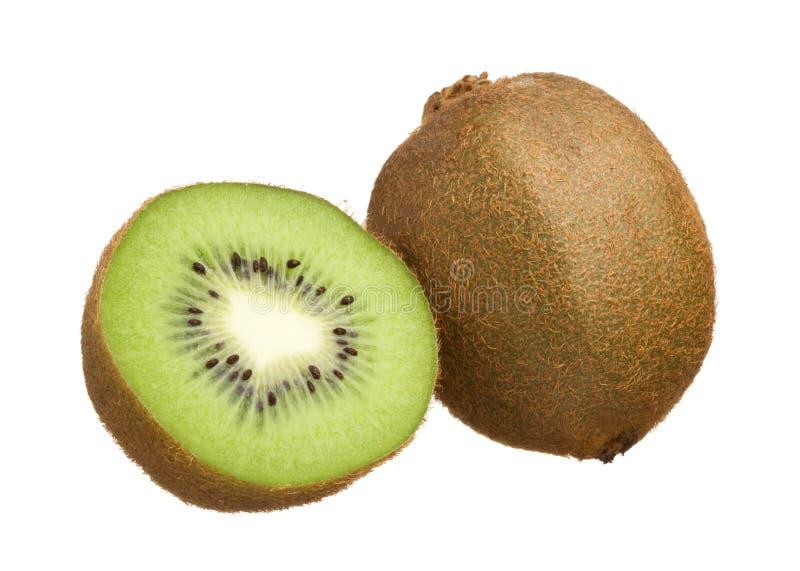 De besnoeiing van de kiwi in half geïsoleerde op witte achtergrond stock fotografie