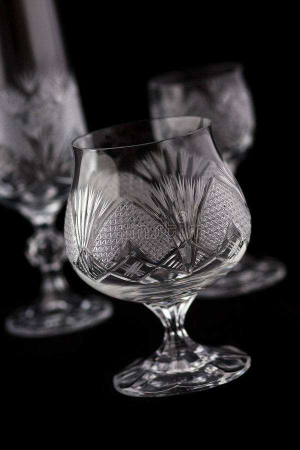 De besnoeiingsglas van het kristal stock foto
