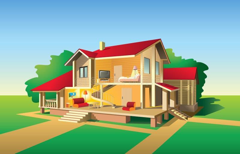 De besnoeiingsmening van het huis stock illustratie