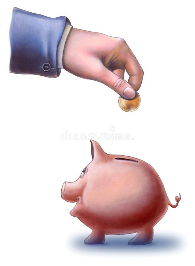 De besparingen van het varken stock foto