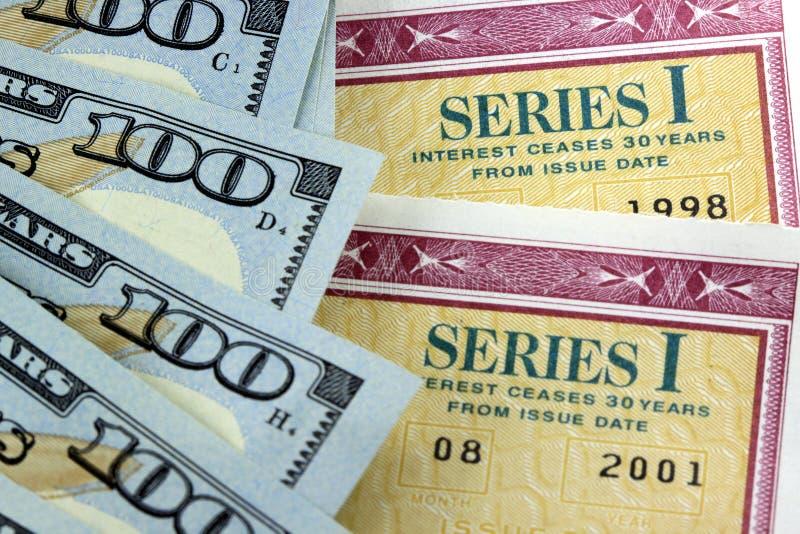De Besparingenbanden van Verenigde Staten met Amerikaanse Munt royalty-vrije stock afbeelding