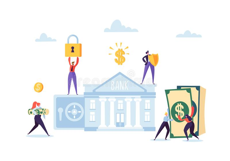 De besparingenconcept van het geld Bedrijfsmensenkarakters die Geld voor Bankrekening investeren Veilige Storting, Bankwezen, Ink royalty-vrije illustratie