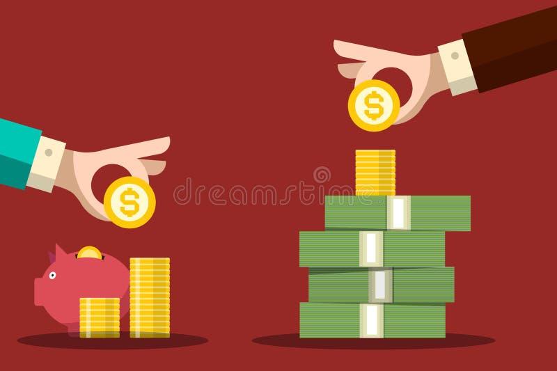 De besparingenconcept van het geld Menselijke Handen met Dollarmuntstukken en Spaarvarken stock illustratie