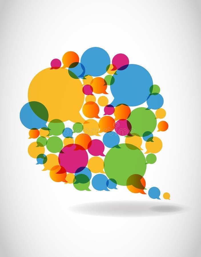 De bespreking in kleurentoespraak borrelt sociale media vector illustratie