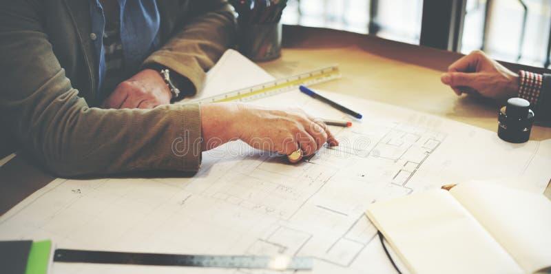 De Besprekingsconcept van architectendesign project meeting stock foto's