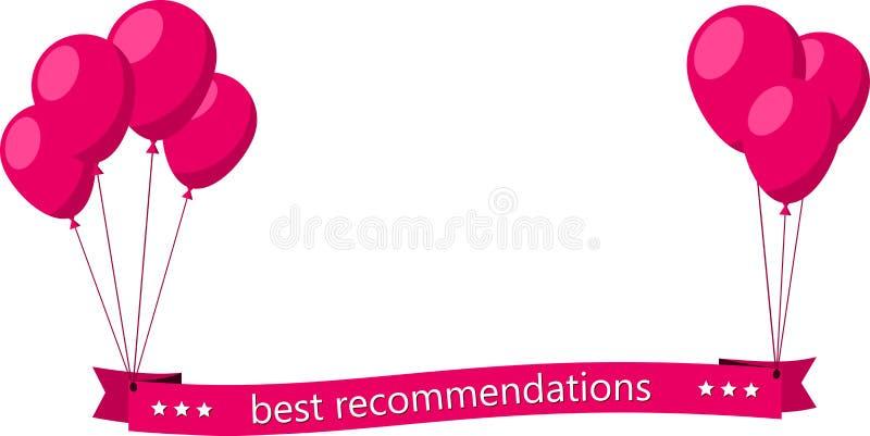De beste aanbevelingen doorboren vlak lint met ballons vector illustratie