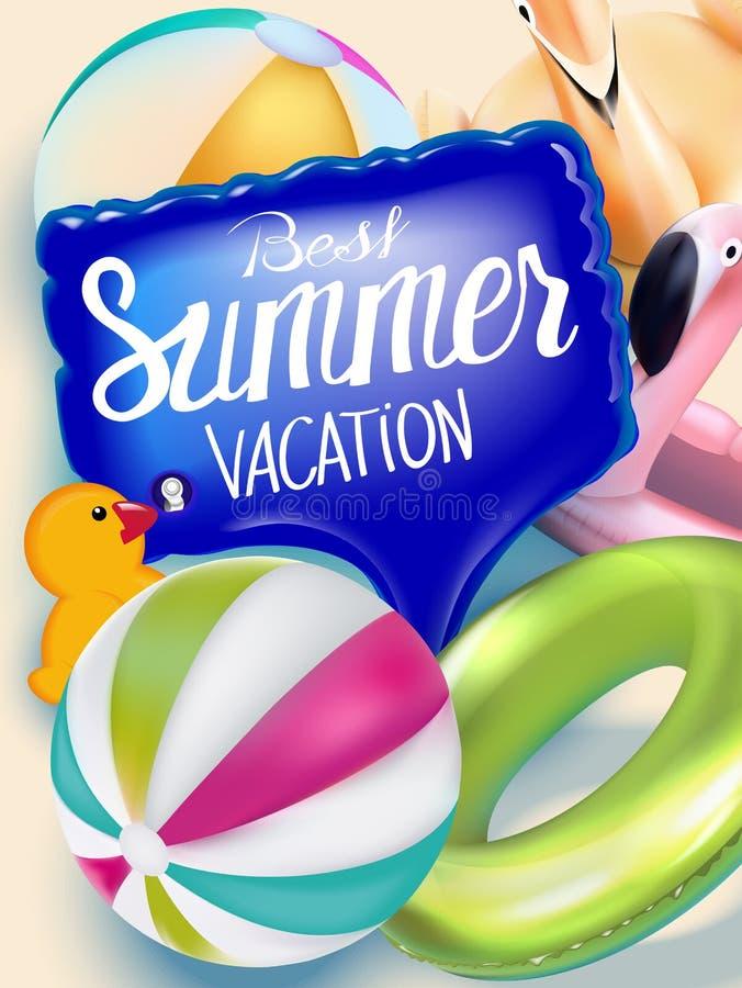 De beste banner van de de zomervakantie met opblaasbaar speelgoed stock illustratie