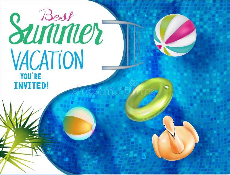 De beste banner van de de zomervakantie met zwembad Mening hierboven royalty-vrije illustratie