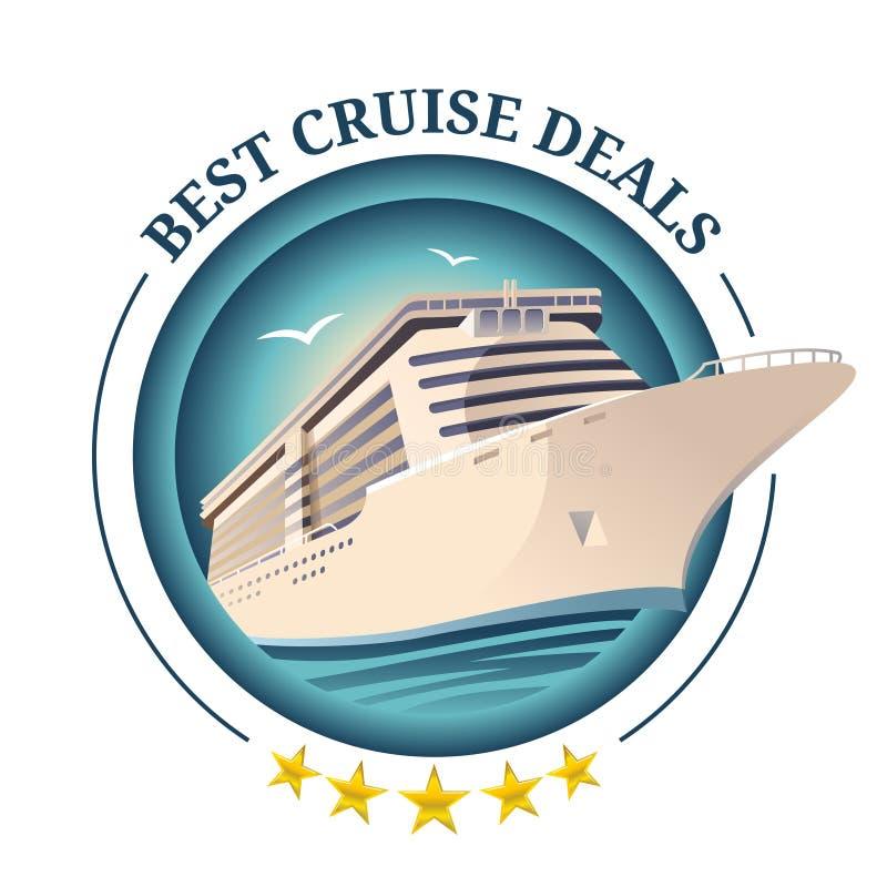 De beste cruise behandelt illustratie Schip op ronde achtergrond Het ontwerpmalplaatje van de reisaanbieding Vectoreps 10 stock illustratie