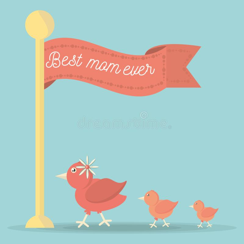 De beste familie van de het lint leuke vogel van de mamma ooit vlag stock illustratie