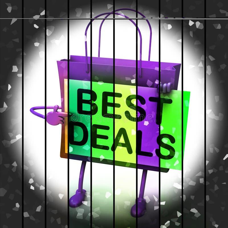 De beste Overeenkomsten het Winkelen Zak vertegenwoordigt Koopjes en Kortingen royalty-vrije illustratie