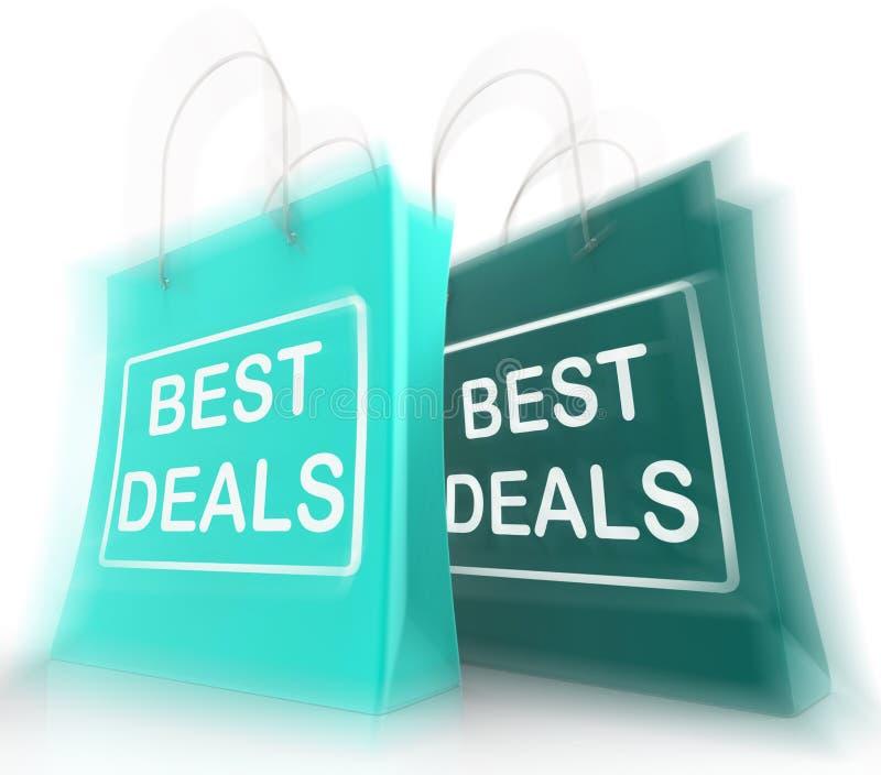 De beste Overeenkomsten het Winkelen Zakken vertegenwoordigen Koopjes en Kortingen stock illustratie