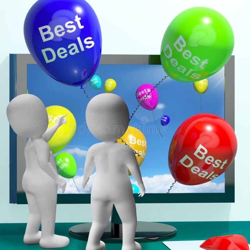 De beste Overeenkomstenballons vertegenwoordigen online Koopjes en Kortingen stock illustratie