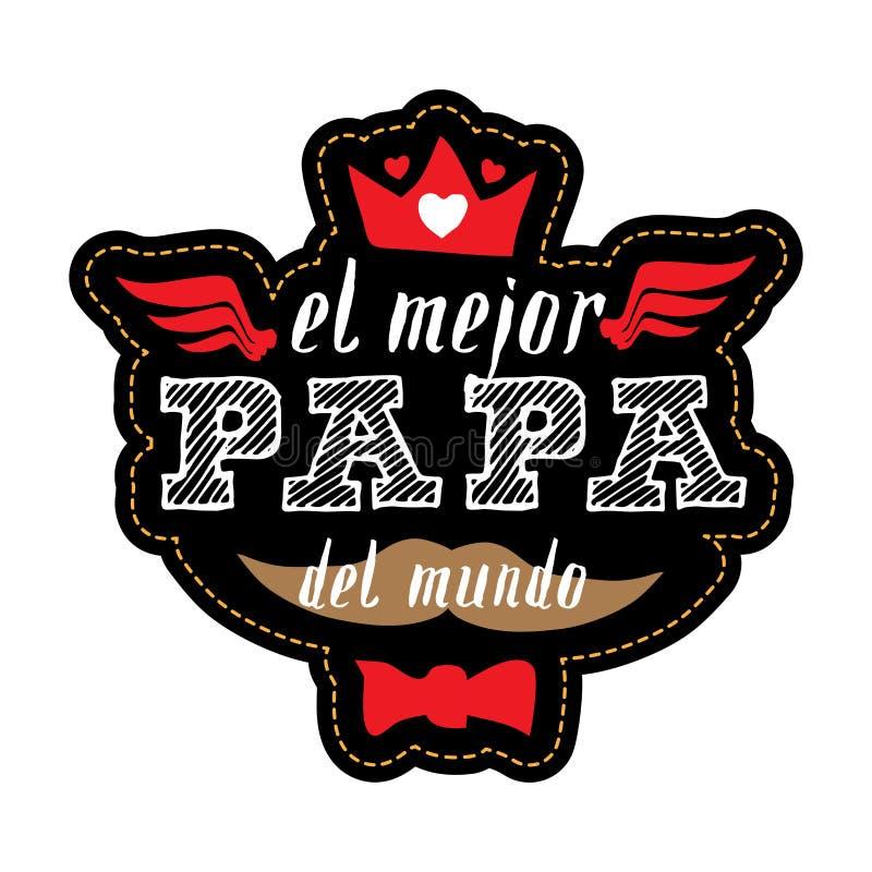 De beste Papa in de Wereld - Spaanse taal T-shirtdruk hap vector illustratie